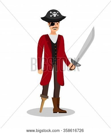 Charismatic Pirate Skipper Flat Color Illustration. Captain In Coat And Hat Isolated Cartoon Charact