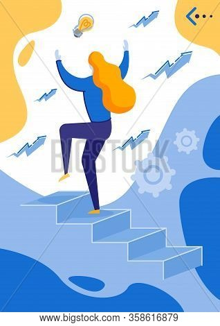 Woman Going Up By Stairs Getting Promotion Flat Cartoon Vector Illustration. Mnader Having Personal