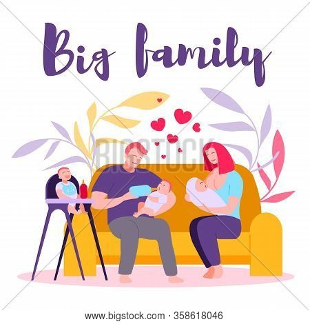 Flat Big Happy Family, Parents And Three Children. Couple, Sofa, Mother Breastfeeds Newborn Baby, Fa