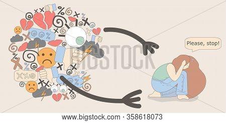 Illustration Of Cyberbullying. Online Pressure. Posting Sexual Remarks, Or Pejorative Labels. Profan