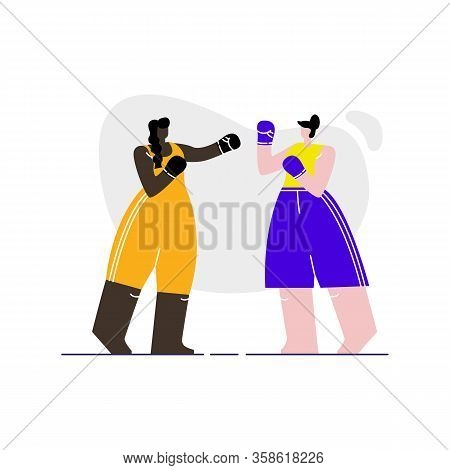 Female Boxers Sparring Flat Vector Illustration. Women In Sportswear And Gloves Cartoon Characters.