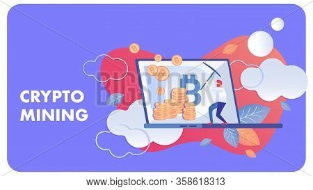Crypto Mining Business Flat Vector Illustration. Redhead Cryptocurrency Miner Cartoon Character. Blo