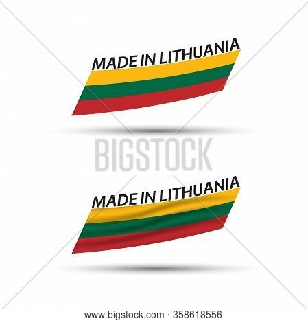 Two Modern Colored Vector Lithuanian Flags Isolated On White Background, Flags Of Lithuania, Lithuan