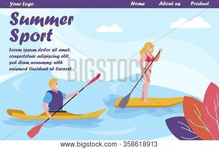 Flat Landing Page Offering Summer Water Sport Variety. Rowing On Canoe Or Kayak, Sup Surfing With Pa