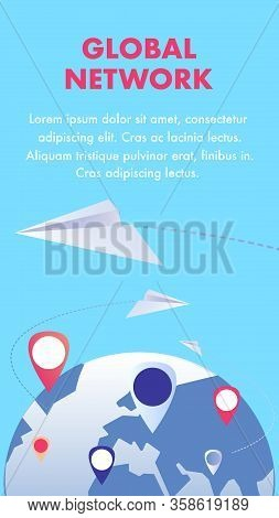 Global Communication Network Flyer Flat Template. Worldwide Internet Connection. Social Media Lifest