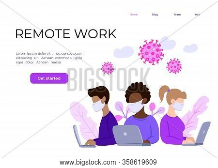 Multinational Team In Face Mask, Online Assistant At Work. Promotion In The Network. Remote Work, Se
