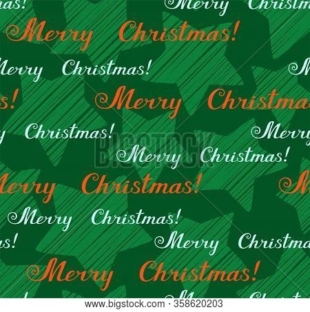 Merry Christmas, Seamless Pattern, Vector, Green, English. The Inscription In English:
