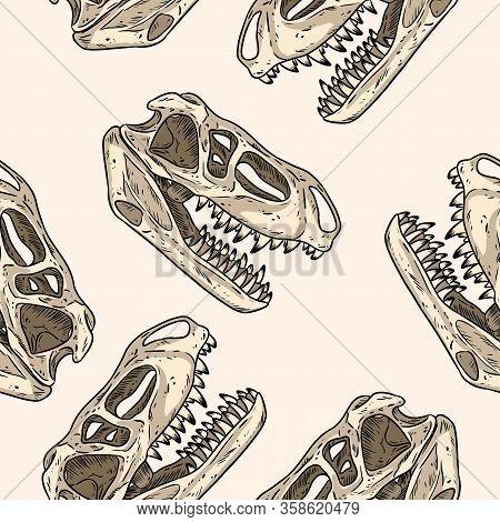 Carnivorous Reptile Dinosaur Fossils Seamless Pattern. Trex Fossilized Skull Wallpaper. Wallpaper Ve