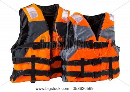 Two Orange Life Jackets, Stand In A Row, Child And Adult Life Jackets, Concept, On A White Backgroun