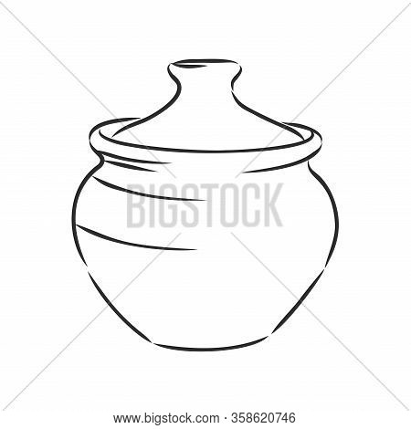 Hand Drawn Saucepan Sketch Symbol. Vector Pot Element In Trendy Style.