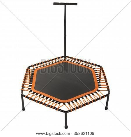 Fitness Trampoline With A Handrail, To Perform Exercises With Jumping, On A White Background