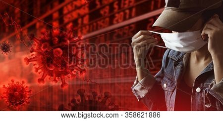 Business Or Financial Chart In Trend Down Caused By  The Epidemic Of Coronavirus.tourist With Busine