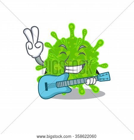 Supper Cool Flaviviridae Cartoon Playing A Guitar