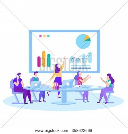 Man Woman Financial Analysts Traders Bankers At Business Meeting Conference Presentation Briefing An