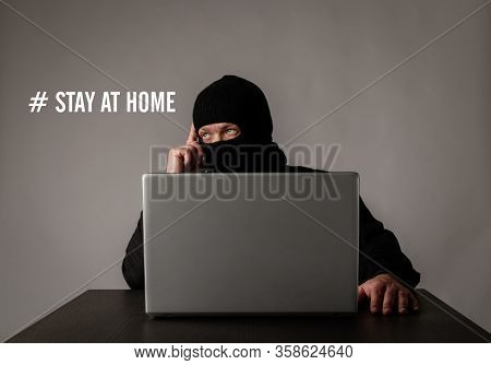 Terrorist And Covid-19. Stay At Home And Quarantine Concept.
