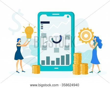 Profitable Startup Realization Vector Illustration. Young Businesswomen Cartoon Characters. Young Fe