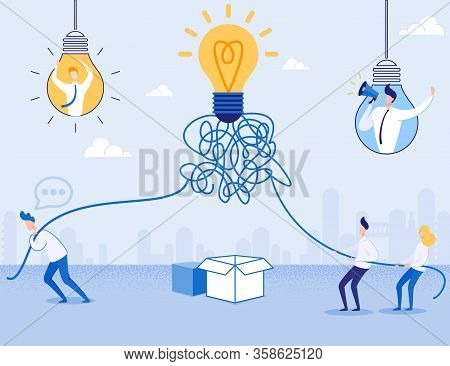 Think Outside Box. Idea Startup Way. Man And Male Female Team Standing With Ropes Connected To Light