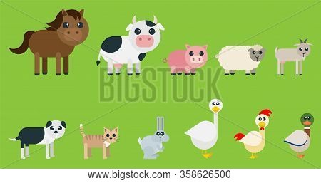 Set Of Cute Farms Designed With Very Geometric And Rounded Shapes For Kids. Animals Included: Horse,