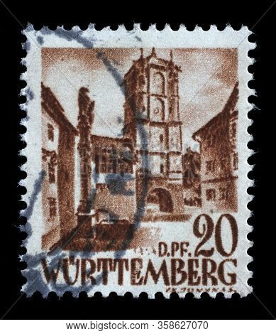 ZAGREB, CROATIA - JUNE 22, 2014: A stamp issued in Germany - Wurttemberg, Allied Occupation 1945-1949 shows City Gate from Wangen, circa 1948.