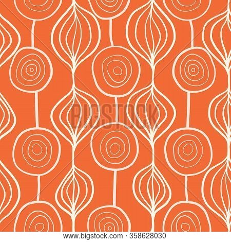 Abstract Organic Ornamental Vertical Floral Vector Pattern. Contemporary White And Orange Mod Art Or