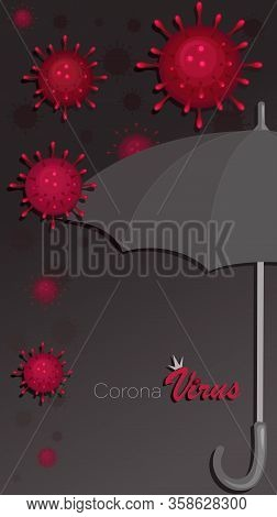 Umbrella. Viral Protection. Covid-19. Coronavirus Background. Protection Against Infectious Diseases
