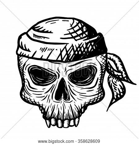 Hand Drawn Skull Of A Dead Man In A Bandana, On A White Background. Vector Illustration