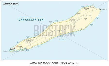 Map Of Cayman Brac, An Island In The Cayman Islands, Uk