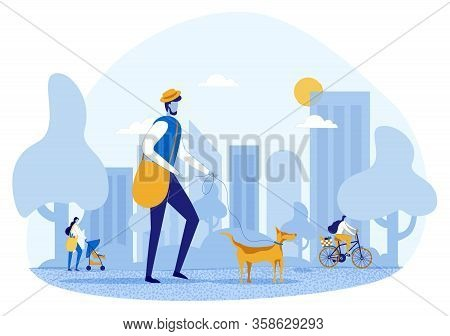 Cartoon Happy People Characters On Walk. Citizen Walking In Urban Park. Man With Dog On Leash. Mothe