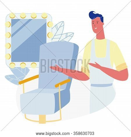 Young Stylish Barber In Apron Waiting Client In Barbershop Stand Near Chair With Big Mirror, Gentlem