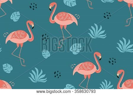 Flamingo Pattern Cute Pink Flamingo Tropical Leaves. Summer Textile Background. Tropical Summer Prin