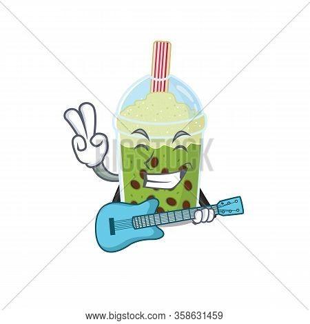 Supper Cool Matcha Bubble Tea Cartoon Playing A Guitar