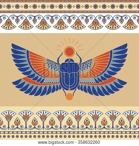 Colorful Illustration Of The Egyptian Scarab Beetle, Personifying The God Hepri With Seamless Horizo