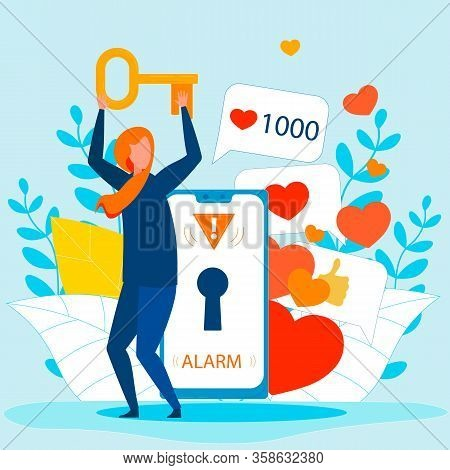 Cartoon Female Thief Holds Key From Network Account. Stolen Access On Smartphone. Cybercrime And Hac