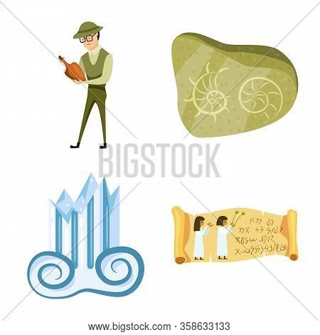 Isolated Object Of Archaeology And Historical Sign. Collection Of Archaeology And Excavation Vector