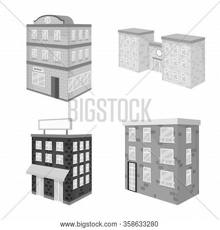 Vector Illustration Of Realty And Modern Icon. Collection Of Realty And Building Vector Icon For Sto