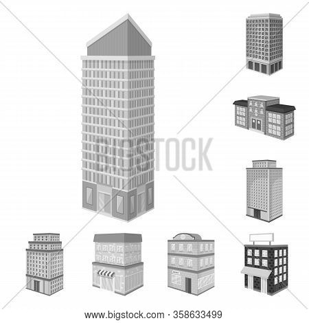 Isolated Object Of Realty And Modern Logo. Collection Of Realty And Building Vector Icon For Stock.