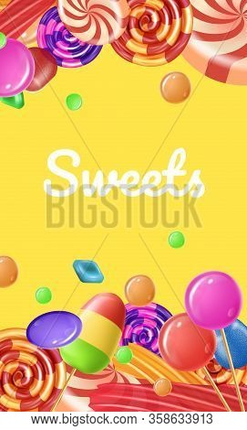 Candies Different Tastes And Colors On Yellow Background. Vector Illustration. Colored Caramel Set.
