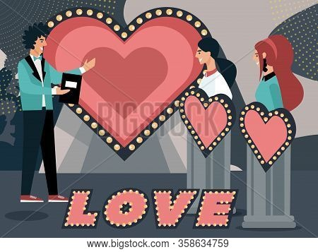 Television Anchorman Conducting Love Show Game On Tv Chanel, Young Women Stand At Tribunes In Studio
