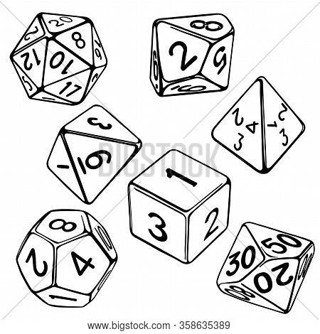 Collection Of Dice For Role-playing Games Isolated On White Background Hand Drawn Vector Illustratio
