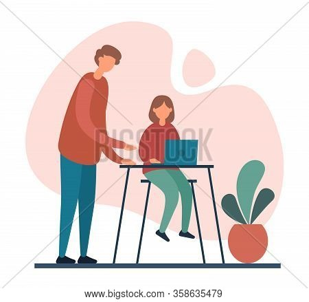 Father Helping Daughter With Homework Assignment. Flat Vector Illustration