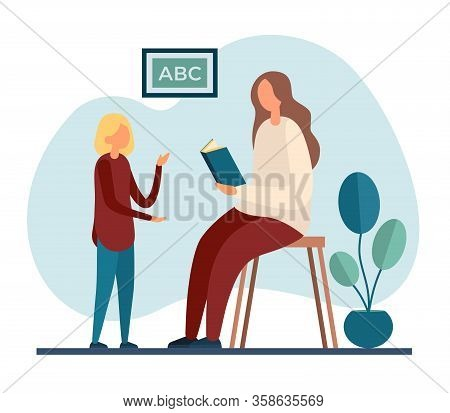 Mother Tutoring Daughter At Home. Flat Vector Illustration