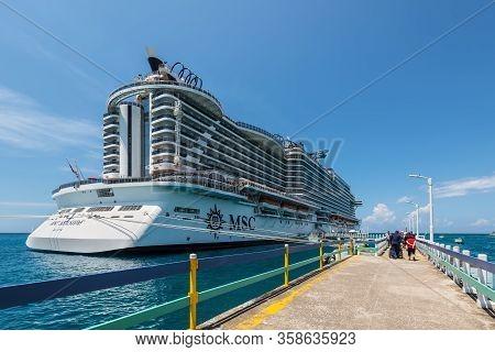 Ocho Rios, Jamaica - April 22, 2019: Cruise Ship Msc Seaside Docked In The Tropical Caribbean Island