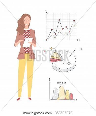 Woman Worker Vector, Infocharts And Information In Visual Representation On Screen, Pie Diagram With