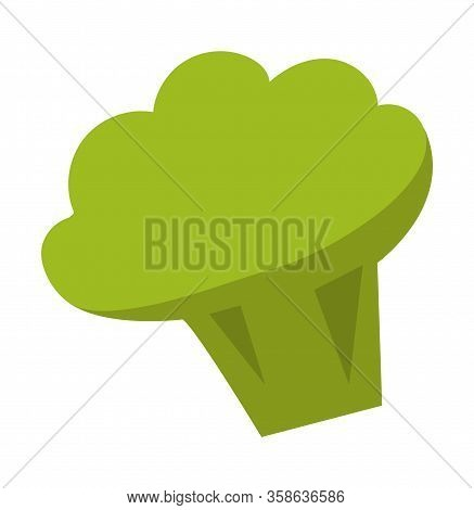 Broccoli Isolated Icon Vector, Flat Style Veggie. Greenery And Healthy Eating Lifestyle. Dietary Foo