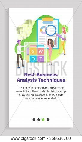 Business Analytics Technique Vector, People Working At Development Of Project, Man And Woman With Ma