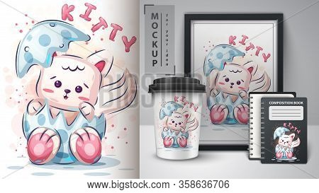 Teddy Cat Poster And Merchandising. Vector Eps 10