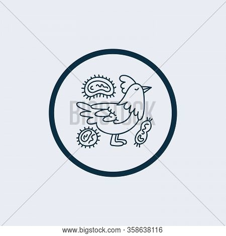 Raster Chicken Virus Flat Icon. Raster Pictogram Style Is A Flat Symbol Chicken Virus Icon On A Whit