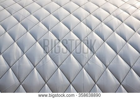 Covered Tennis Hall In Winter. White Dome Roof Background. Tennis In Winter Concept. White Cover Abo