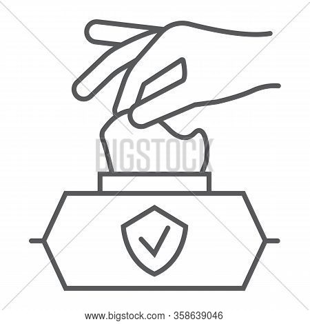 Hand Pulling Wet Tissue Thin Line Icon, Wash And Hygiene, Hand Tissues Sign, Vector Graphics, A Line