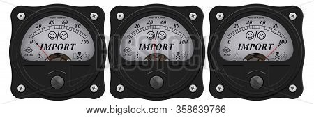 Import Indicator. Set Of Analog Indicators Showing The Level Of Import In Percentage. Isolated. 3d I